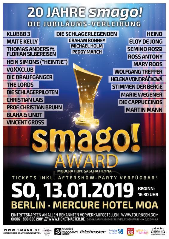 smago! AWARD * Sonntagnachmittag, 13.01.2019 - MERCURE Hotel MOA Berlin