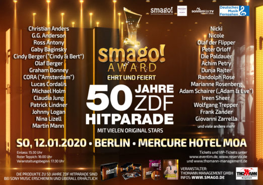 smago! Award feiert und ehrt 50 Jahre ZDF-Hitparade - am 12.01.2020 im Mercure Hotel MOA Berlin