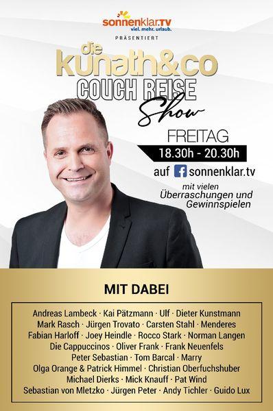 sonnenklar.TV präsentiert ...: DIE KUNATH & CO COUCH REISE SHOW - am 03.04.2020, von 18:30 Uhr - 20:30 Uhr