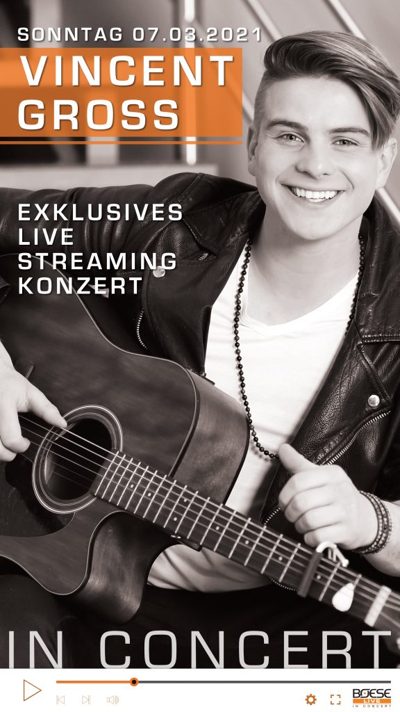 VINCENT GROSS * In Concert - Exklusives Live Streaming Konzert (am 07.03.2021; 18:00 Uhr)