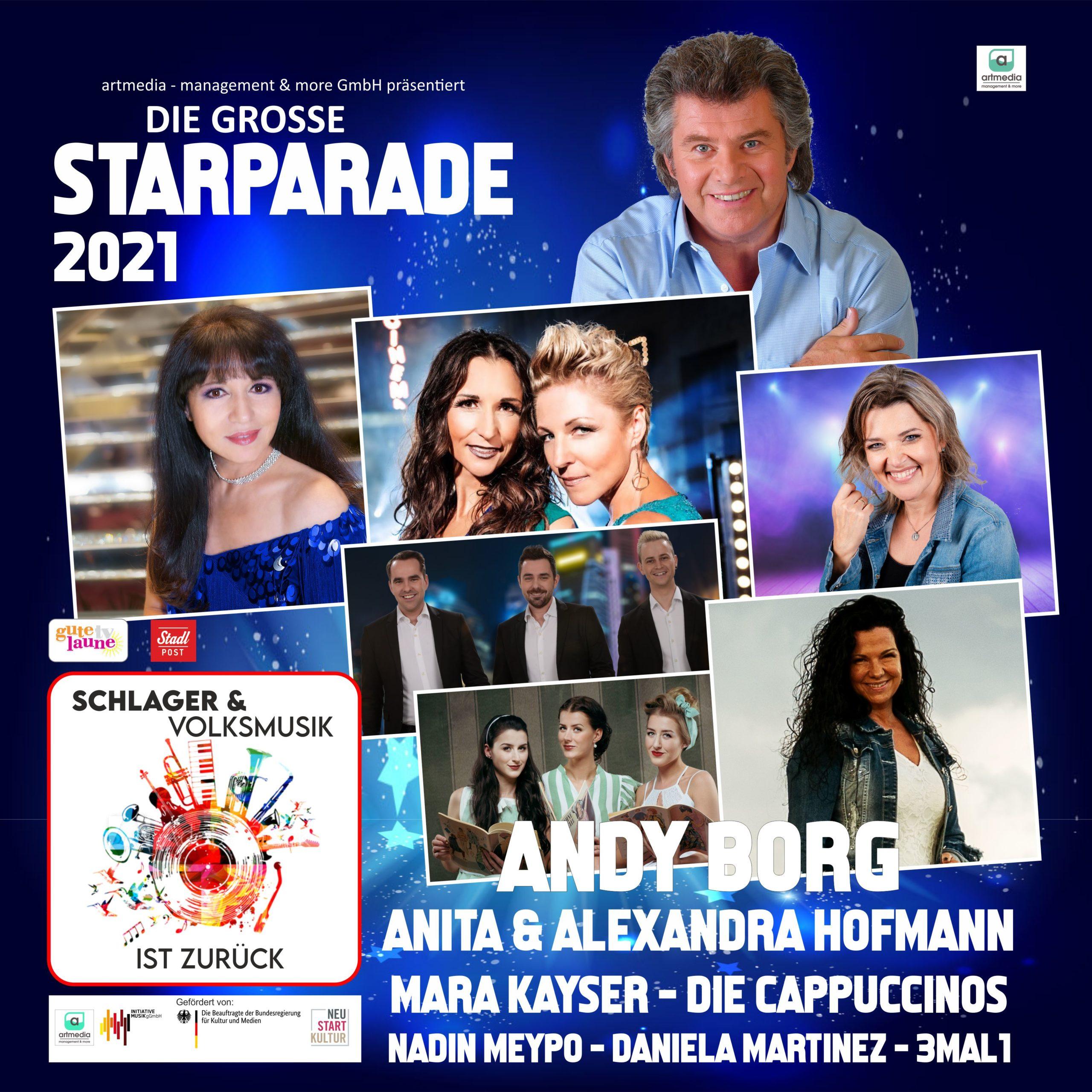 ANDY BORG, ANITA & ALEXANDRA HOFMANN, MARA KAYSER, DIE CAPPUCCINOS u.a. *Die große Starparade 2021 (Event-Reihe der artmedia - management & more GmbH)