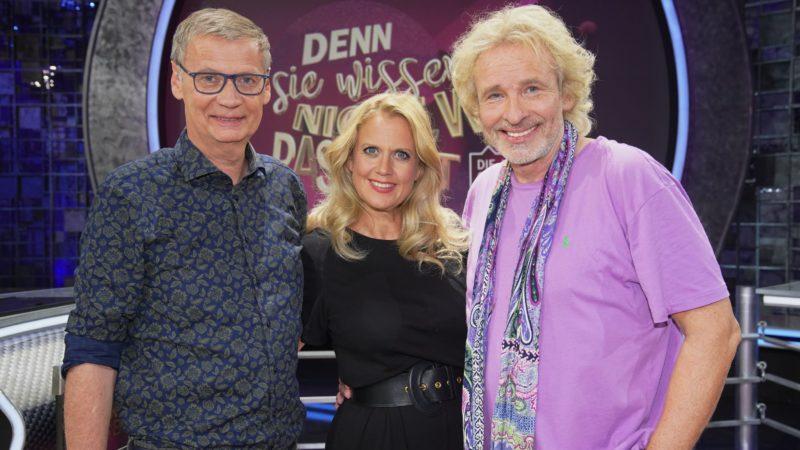 """BARBARA SCHÖNEBERGER – GÜNTHER JAUCH – THOMS GOTTSCHALK <br>Sa., 11.09.2021, RTL: """"Denn sie wissen nicht, was passiert – Die Jauch-Gottschalk-Schöneberger-Show""""!"""